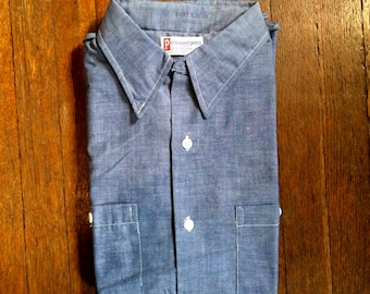 Vintage 1960s 70s SEARS Chambray Cotton Short Sleeve WORK SHIRT Size Large Big Mac Hercules Levis Lee