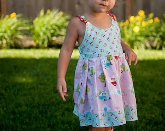 Girls Camper Dress - Girls Vintage Dress - Girls Dress - Girls Camper Outfit - Girls Summer Dress - Girls Sundress - Girls Ruffle Dress -