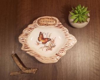 Arizona Souvenir Ashtray by Treasure Craft circa 1960's, Butterfly Decor, Ceramic Dish