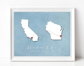 Long Distance Friendship Gift Print-Long Distance Love Relationship, Boyfriend, Girlfriend, Best Friend, Family - Two State Silhouette Print