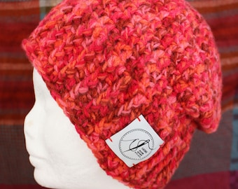 Orange And Red Beanie. Handmade crochet beanie made with soft wool. Very warm.