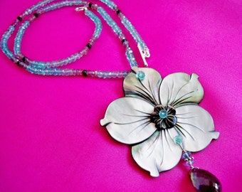 Mother of Pearl, Shell, Flower, Apatite, Labradorite Necklace