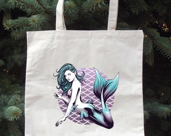 Scales and Pearls - Teal to Purple - Tote Bag