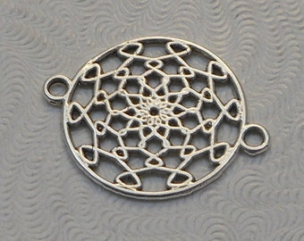 LuxeOrnaments Antiqued Sterling Silver Plated Brass Filigree European Cast 2 sided Connector 22x17mm (1pc) B-14126-S
