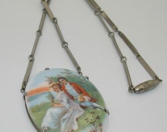Vintage Painted Porcelain Scenic Portrait Necklace