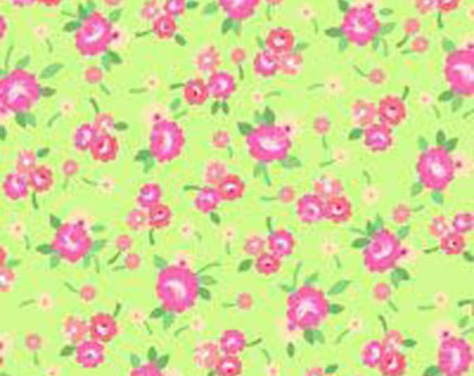 Children's Fabric Pam Kitty Picnic Lime and Pink  Cotton Fabric by Holly Holdermann for Lakehouse Dry Goods.