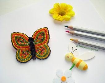 Butterfly Brooch, Bead Embroidery Brooch,Brooch for Kids, Handmade Brooch, Handmade Jewelry, BirthDay Gift, T-Shirt Brooch