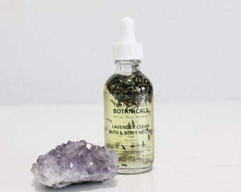 Lavender Cedar Bath & Body Nectar. Infused Skincare. Multi Purpose Herbal Oil. Plant Based. All Natural Moisturizer, Cleanser, Hair Oil .