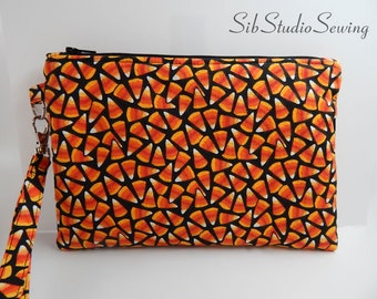 "Candy Corn Clutch, 8.75 x 6 inches, Fits iPhone 7 & 8 Plus, Smartphone and Tablets up to 6.75"" Length, Padded, Pockets, Large Phone Wristlet"