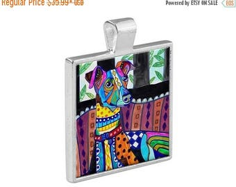 SALE ENDING- Italian Greyhound  Necklace Dog Folk Art Jewelry - Pendant Metal  Gift Art Heather Galler Gift-  Dog Lovers Abstract Modern V