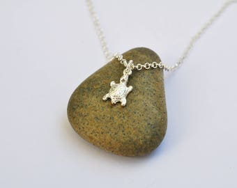 Silver turtle necklace, turtle necklace, silver turtle, dainty necklace, turtle jewelry, surf, beach necklace, tiny turtle, silver turtle