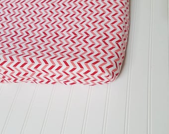 Chevron Changing pad cover, pink, red, changing pad cover, baby girl, baby bedding, nursery, diaper changing, cotton