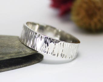 6mm Silver Tree Bark Ring, Hammered Ring, Rustic Ring, Minimalist Ring, Engagement Ring. For Him