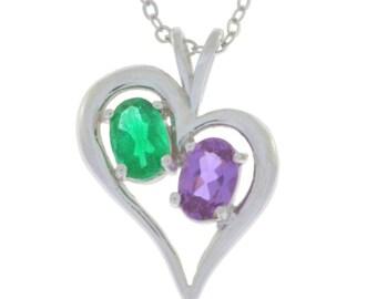 Alexandrite & Emerald Oval Heart Pendant .925 Sterling Silver