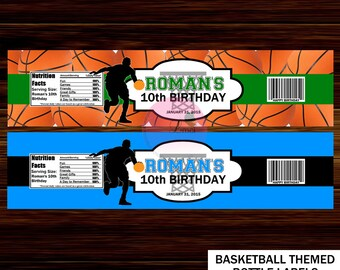 Basketball Water Bottle Labels, Birthday Party Favors  - Digital File