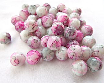 50 Pink Glass Beads, 10mm Drawbench Beads, Round Glass Beads, Pink and Grey Beads, Mottled Beads, Jewelry Beads, UK Seller, Jewelry Supplies