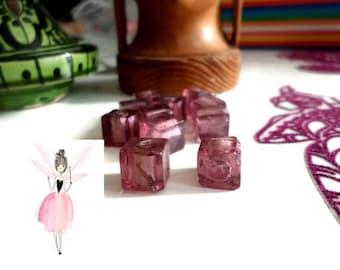 glass leaf beads 5 x silver handmade cube shape 10 x 10 mm