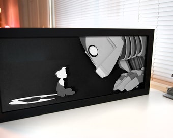 Iron Giant and Hogarth - hand cut paper 3D art shadow box unique wall art decor handmade papercraft best friends artwork