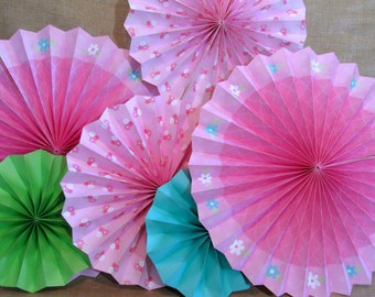 Hanging Fans Flower Party Flower Decoration Table Backdrop Photo Background Hanging Pinwheels Birthday Decorations Baby Shower Decoration