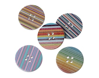 Striped wood sewing buttons - 5 Mixed Patterns craft buttons