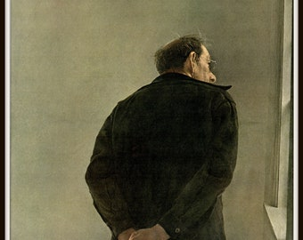 "Man From Maine from Andrew Wyeth, Andrew Wyeth print, American Artist, Wyeth Art, Wyeth Art, New England Painting, approx 13"" X 17"" tall."