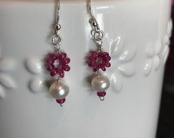 Pearl ruby wire wrapped earrings sterling silver