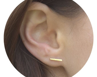 The Perfect Gold Bar Stud Earrings - Post Earrings - 6mm - 8mm - 10mm - Gold Fill Earrings - Classic - Simple - Minimalist - Line