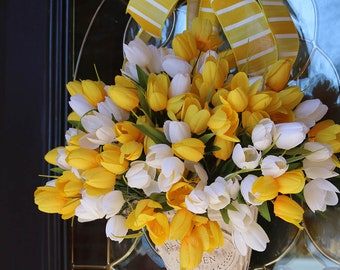 Spring wreaths for front door, Spring wreath, Mother's Day gift, Sunshine wall pocket, Spring door wreath, Spring tulip wreath, Farmhouse