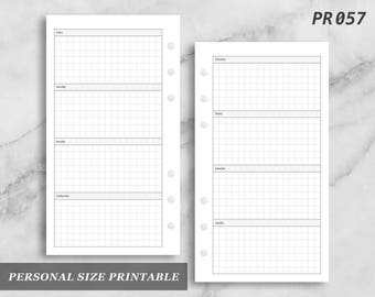 Personal Size Printable Horizontal Wo2P Grid Weekly Week on Two 2 Page Wo2 Graph Digital Download PR057