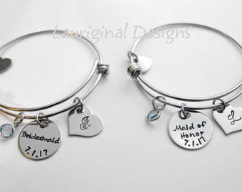 Bridesmaid Bracelet - Maid of Honor bracelet - Matron of Honor bracelet - hand stamped - stainless steel