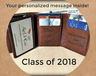 Graduation gift for him• personalized wallet for teacher• for boyfriend • high school graduation • college graduation wallet • Toffee 7133