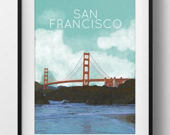 San Francisco Golden Gate Bridge Poster 11x17 18x24 24x36