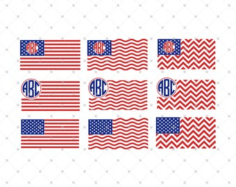 American Flag svg cut files, American Flag Monogram svg, 4th of July svg, Patriotic svg cut files for Cricut and Silhouette, svg files