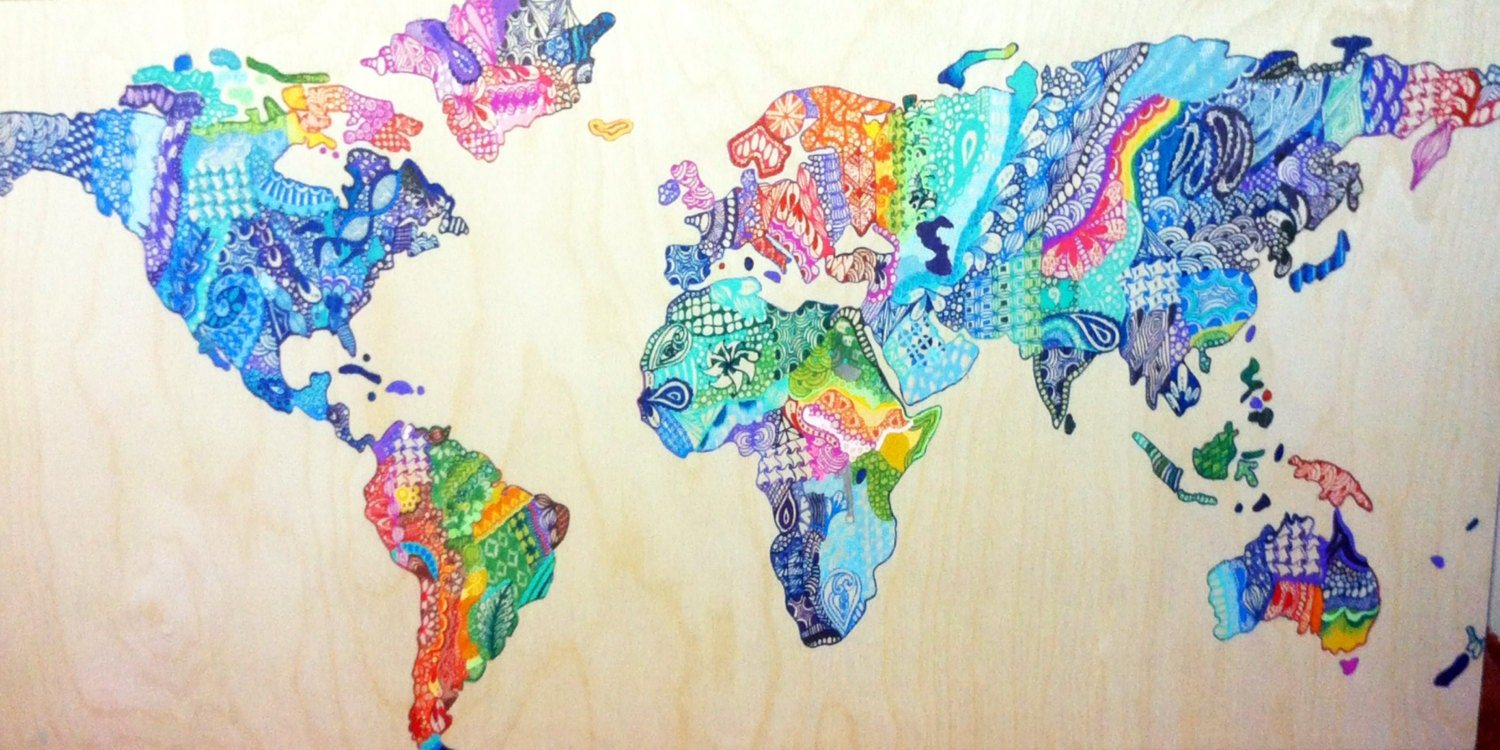 Zentangle world map on wood ampliar gumiabroncs Images