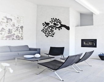 2 Birds On A Branch - Wall Decal - Wall art Sticker - ( black outline shown )