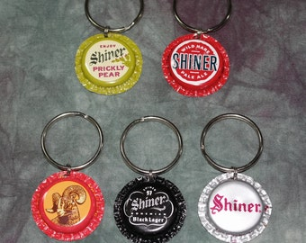 """Dog collar """"Bling"""" charms from recycled Shiner Beer Bottle Caps (Sold Separately)"""