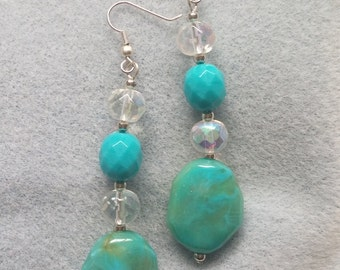Turquoise and Crystal Bead Earrings