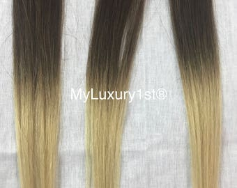 1 Piece Ombre Medium Brown fades to Blonde Clip in Streak Highlight Remy Human Hair Extenisons 19 inches Real Hair  Brand can curl dye dark