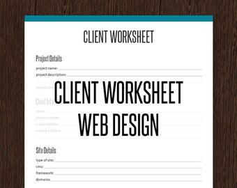 Client Worksheet - Web Designer Business Organizing - Fillable - Printable PDF - Web Design Client Worksheet - Web Designer Resource