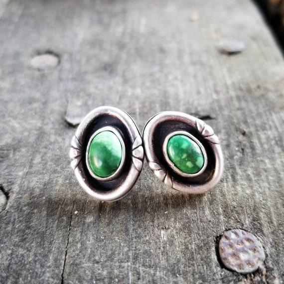 Handmade Sterling Green Hubei Turquoise Stud Post Earrings