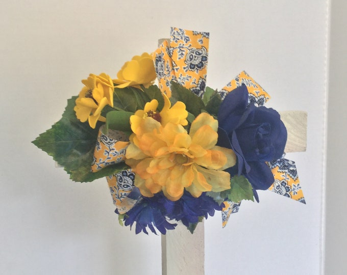 Cemetery cross, yellow and blue floral memorial, grave decoration, memorial cross, Floral Memorial, grave marker, in memory of