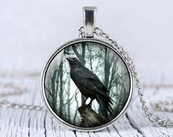 Black raven Pendant,  black crow necklace, black raven necklace, raven jewelry, wild  bird necklace, p45