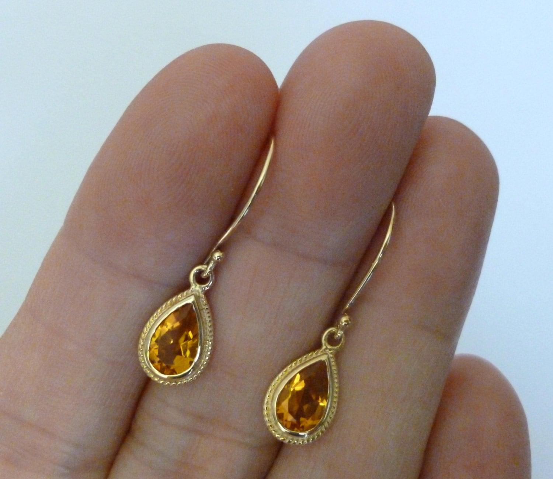 Vintage Citrin Ohrringe antike Solid Goldohrringe 9ct 9 k