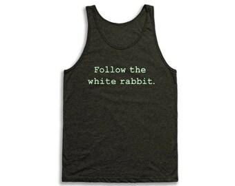 Follow The White Rabbit Tank Top - Vintage Tri-Blend Apparel For Men & Women