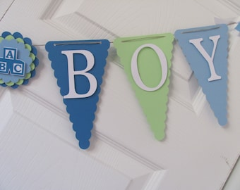Baby Boy Baby Shower Decorations, Sweet Baby Boy Banner, Blue, Green and White