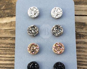 Raw Druzy earring set - Four pairs of raw faux Druzy stud earrings, Light silver, dark silver, gold multicolored, black, Druzy gift set