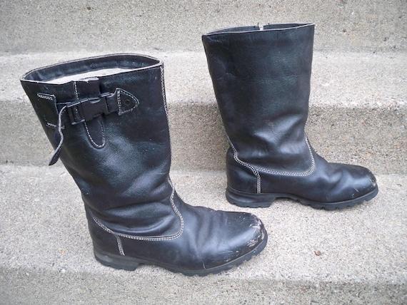 Lined Biker Size Men's Soft Vintage Boots Leather Motorcycle Toe Black Work Riding 11 wxqRSzUq