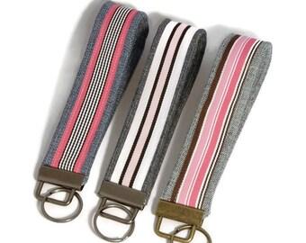 Pink Wrist Keychain, Wrist Key Fob, Wrist Lanyard, Keychain Wristlet, Keychain Lanyard, Denim Keychain, Upcycled Denim, Keychain for Women