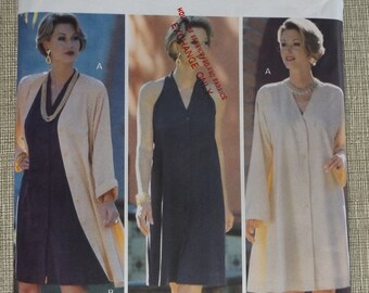 Linda Allard/Ellen Tracy Flared A-Line Dress with Dropped Shoulders Sizes 12-16 Complete Uncut/FF Vintage 90s Butterick Sewing Pattern 3401
