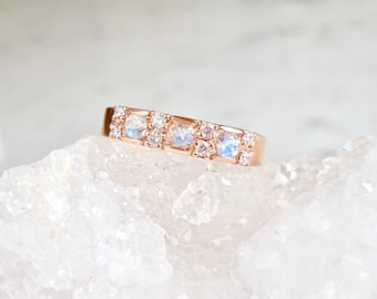 Moonstone and Diamond Band - Set with Diamonds or Cubic Zirconia, Moonstone Ring, 14 k Gold or Sterling Silver, Engagement Band